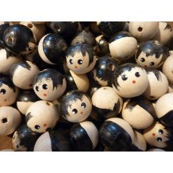 18mm Painted Hair Wood Doll Head Beads