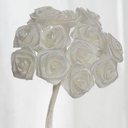 Ivory Satin Mini Ribbon Roses