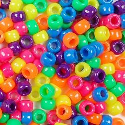 Opaque Multi Neon Colors Pony Beads Bulk