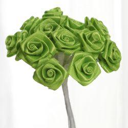 Apple Green Satin Small Ribbon Roses