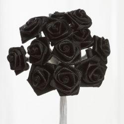Black Satin Small Ribbon Roses