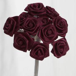 Burgundy Satin Small Ribbon Roses