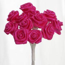 Fuschia Satin Small Ribbon Roses