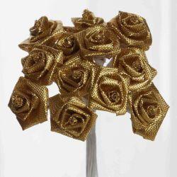 Gold Satin Small Ribbon Roses