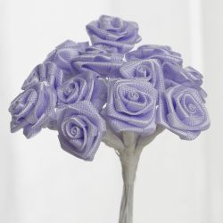 Lavender Satin Small Ribbon Roses