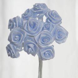Light Blue Satin Small Ribbon Roses