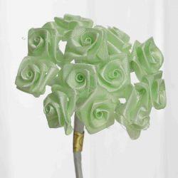 Mint Green Satin Small Ribbon Roses