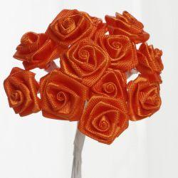 Orange Satin Small Ribbon Roses