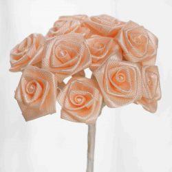 Peach Satin Small Ribbon Roses