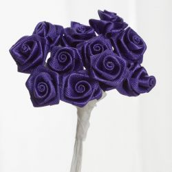 Purple Satin Small Ribbon Roses