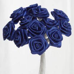 Royal Blue Satin Small Ribbon Roses