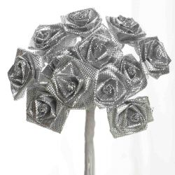 Silver Satin Small Ribbon Roses