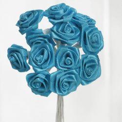 Turquoise Satin Small Ribbon Roses