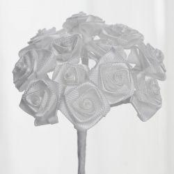 White Satin Mini Ribbon Roses
