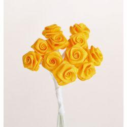 Yellow Satin Small Ribbon Roses