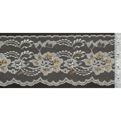 4 Inch Flat Lace White with Gold 1 Yard