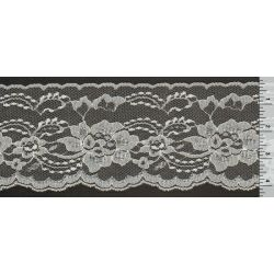 4 Inch Flat Lace White with Silver