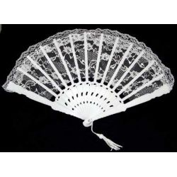 6 Inch White Lace Folding Fans