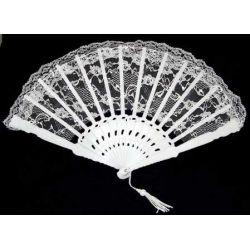 9 Inch White Lace Folding Fan