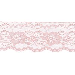 Pink 3 Inch Wide Flat Lace