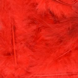Red Fluff Marabo Craft Feathers