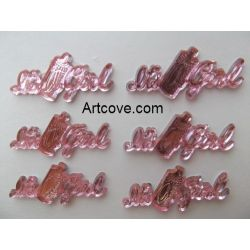 Miniature Acrylic Pink It's A Girl Sign Charms