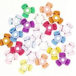 multi colored tri beads