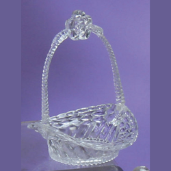 5 inch Clear Plastic Mini Basket with Flower Handle