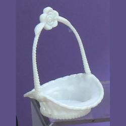 White Plastic Mini Basket with Flower Handle