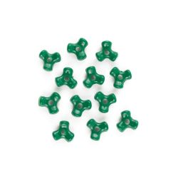solid green tri beads