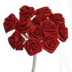 Red Satin Small Ribbon Roses