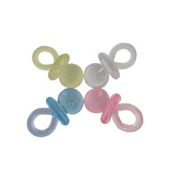 1.75 Inch Plastic Clear Pink Baby Pacifiers