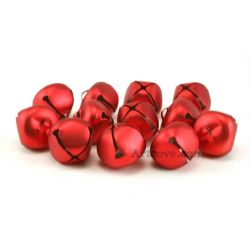 1 Inch Matte Red Jingle Bells