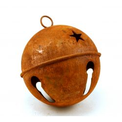 Large Rusty Jingle Bell with Stars