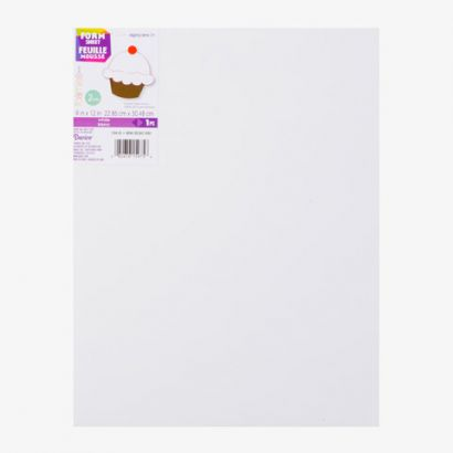 2mm Thick White Foamies Craft Foam Sheet 9 x 12 inches