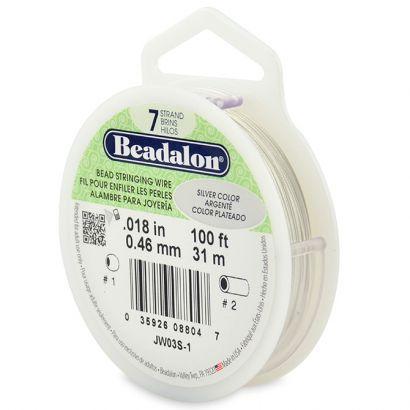 Beadalon® Wire - 7 Strand - Bright Silver -0.018 inch - 100 feet.