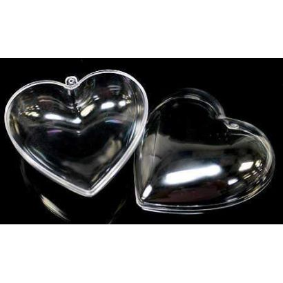 2.5 Inch Clear Plastic Heart Ornaments