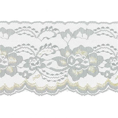 White with Gold 4 Inch Wide Flat Lace