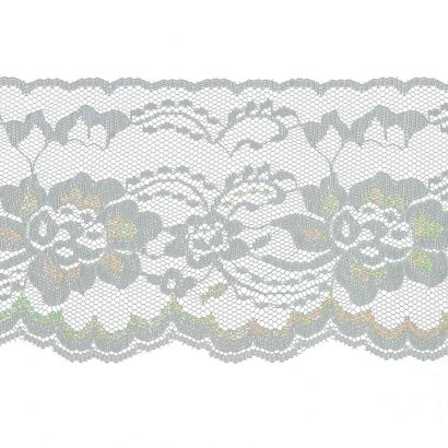 White with Iridescent 4 Inch Wide Flat Lace