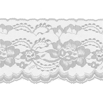 White with Silver 4 Inch Wide Flat Lace