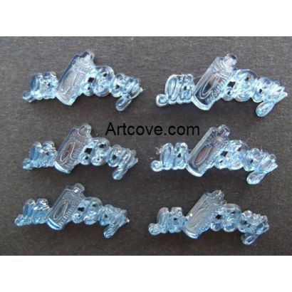 Miniature Acrylic Blue It's A Boy Sign Charms