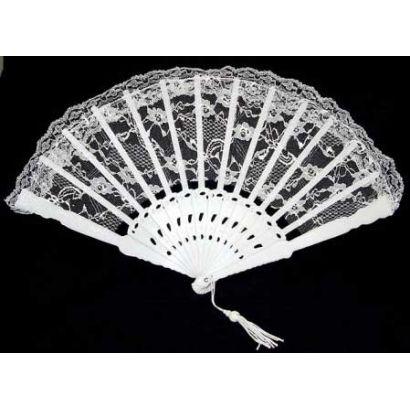 6 Inch White Lace Folding Fan