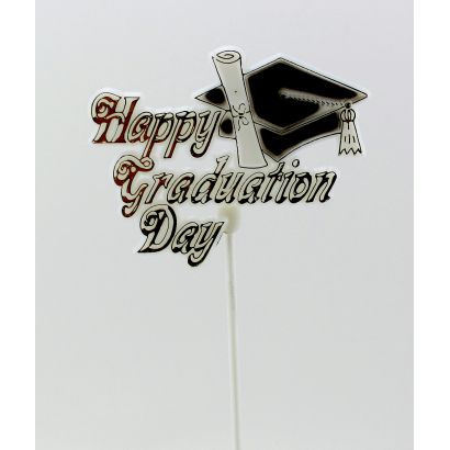 Happy Graduation Day Floral Pick White, Gold, Black